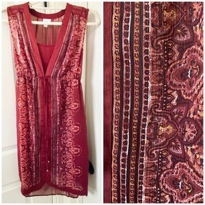 EUC Merona Maroon Moroccan Sleeveless Dress